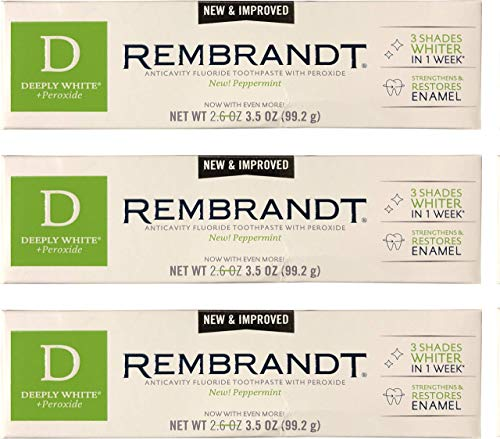 Rembrandt Deeply White + Peroxide Whitening Toothpaste 3.5 oz, 3 Pack, Peppermint Flavor