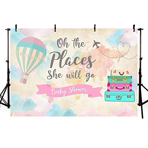 MEHOFOTO Travel Girl Baby Shower Party Decorations Backdrop Pink Map Suitcases Travel Around the World Hot Air Balloon Oh The Places She Will Go Photography Background Photo Banner 7x5ft