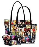 Glossy Magazine Cover Collage 3-in-1 Shopper Tote Bag Wallet Set Michelle Obama Handbag (9-Multi/Black)