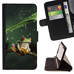 King Air - Premium PU Leather Wallet Case with Card Slots, Cash Compartment and Detachable Wrist Strap FOR LG G3 LG-F400 D802 D855 D857 D858 - Frog