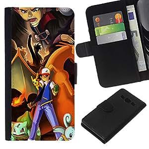 // PHONE CASE GIFT // Moda Estuche Funda de Cuero Billetera Tarjeta de crédito dinero bolsa Cubierta de proteccion Caso Samsung Galaxy A3 / Pokemn Team /