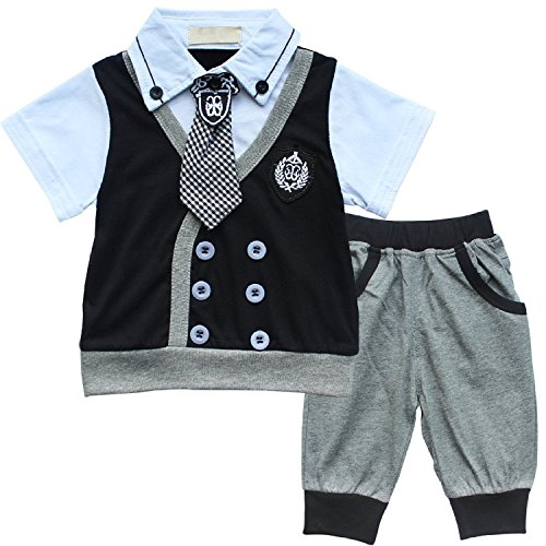 EGELEXY Baby Boys T-Shirt + Short Pants 2PCs Clothes Suit Gentleman Clothing Sets 12-18months Black
