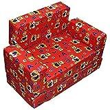 e-YOP Kids Soft Foam Sofa Cum Bed (Red, 24.5x10.5x12.5cm)