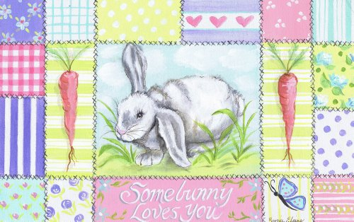 Patchwork Border - The Kids Room by Stupell Somebunny Loves You with Carrots and Patchwork Border