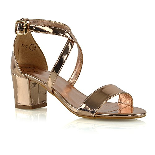 ESSEX GLAM Womens Strappy Block Low Heel Ankle Strap Synthetic Evening Sandals (7 B(M) US, Rose Gold ()