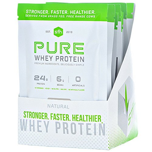 Pure Whey Protein Powder (Natural Unflavored) by SFH   Best Tasting 100% Grass Fed Whey   All Natural   100% Non-GMO, No Artificials, Soy Free, Gluten Free (Natural, 10 Single Serve Pouches) Review
