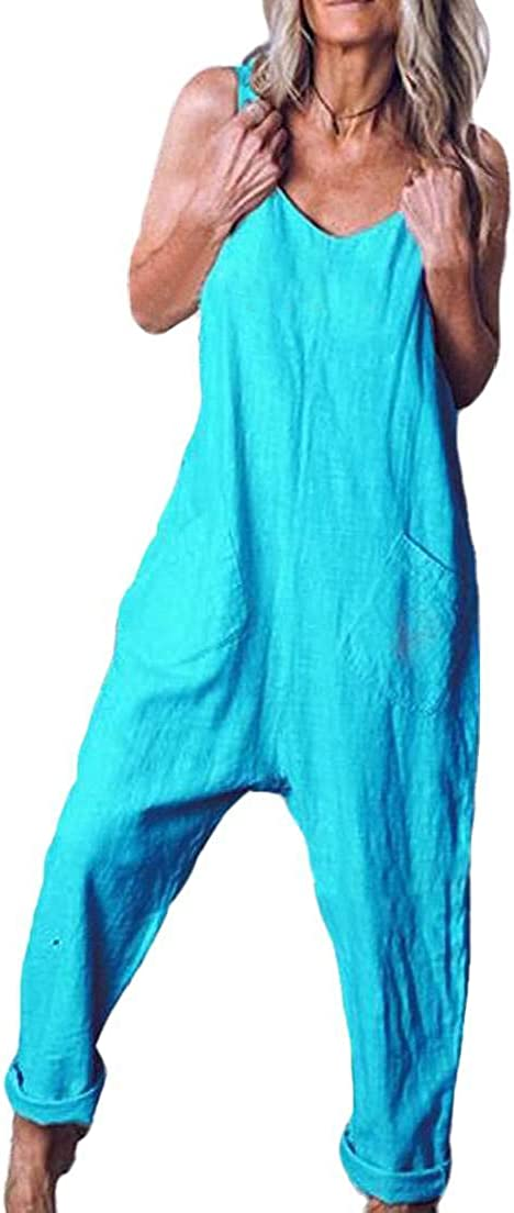 Fubotevic Women Solid Color V Neck Sleeveless Baggy Rompers Jumpsuit with Pockets
