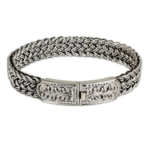 "NOVICA .925 Sterling Silver Braided Chain Wristband Bracelet, 7"", Unity' from NOVICA"