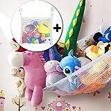 Toy Hammock Set for Stuffed Animals, 1 Extra Large (80'') Corner Storage Net with +1 Bath Toy Organizer Bag + 4 Strong Suction Hooks(White)