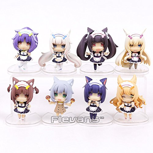 8pcs/set NEKOPARA Chocolat Vanilla Azuki Coconut Maple Cinnamon Q Version PVC Figures Collectible Model Toys 7cm