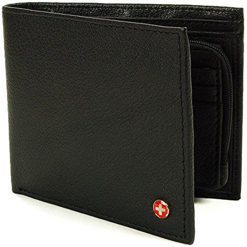 Alpine Swiss Men's RFID Blocking Leather Wallet Zipper Coin Card Case, Black