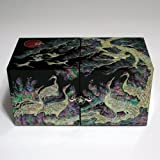 Mother of Pearl Black Crane and Pine Tree Design Wooden Twin Cubic Jewelry Trinket Keepsake Treasure Lacquer Box Case Chest Organizer