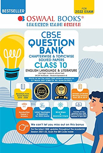 Oswaal CBSE Question Bank Class 10 English Language & Literature Book Chapter-wise & Topic-wise Includes Objective Types & MCQ's [Combined & Updated for Term 1 & 2]