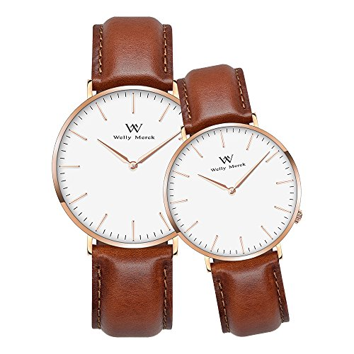 Welly Merck Couple Watches Valentines Day Gifts For Her His Pair Watch Swiss Quartz Movement 36 & 42mm Dial Light Brown Leather Interchangeable Band 50M Water Resistant by WM WELLY MERCK