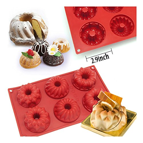 6-Cavity Silicone Mini Fancy Bundt Savarin Cake Pan Silicone Mold Baking Mold from Unknown