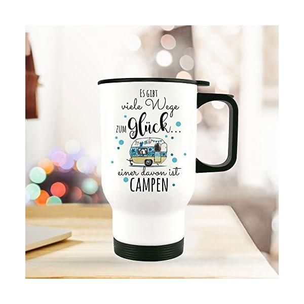 512aXcFoeIL ilka parey wandtattoo-welt® Thermobecher Camping Thermotasse Thermosflasche Kaffeebecher Becher Wohnwagen mit Punkten…