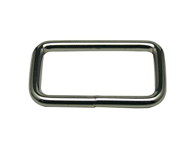 Generic Metal Silvery Rectangle Buckle with Slider Bar 1.5 X 0.8 Inside Dimensions Loop Ring Belt and Strap Keeper for Bag Accessories Pack of 10