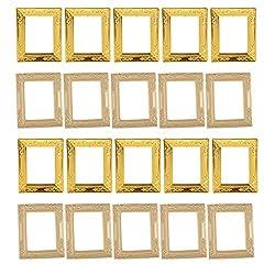 NATFUR 20Pcs Rectangular Photo Frames 1:12scale Dollhouse Miniatures Funiture Decor