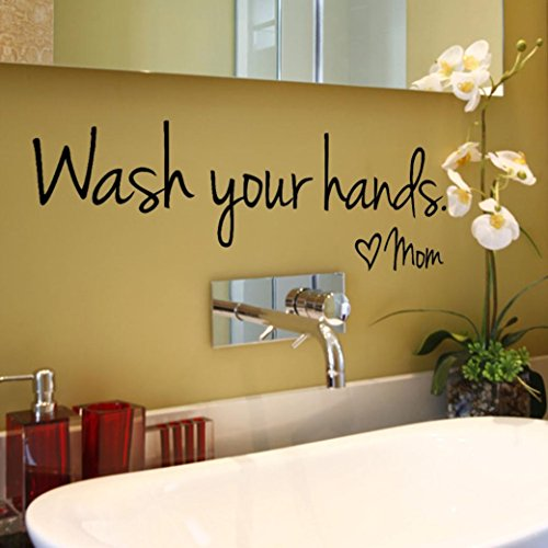 Cheap  Rumas DIY Wash Your Hands Wall Stickers Quote, Home Decor for Bathroom..
