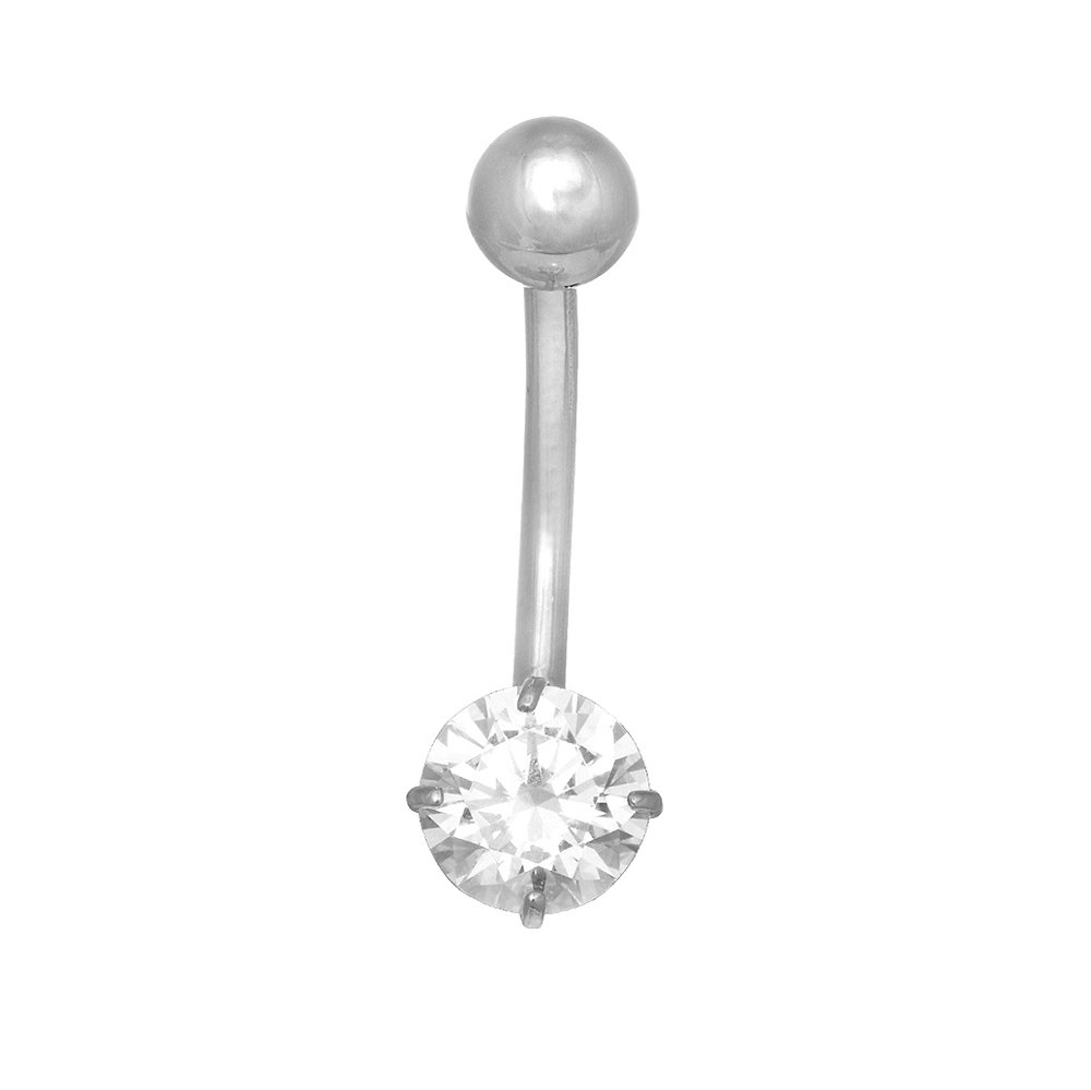 JewelStop 14k Solid Gold White Belly Button Round CZ Navel Ring Body Jewelry, 1.1gr.