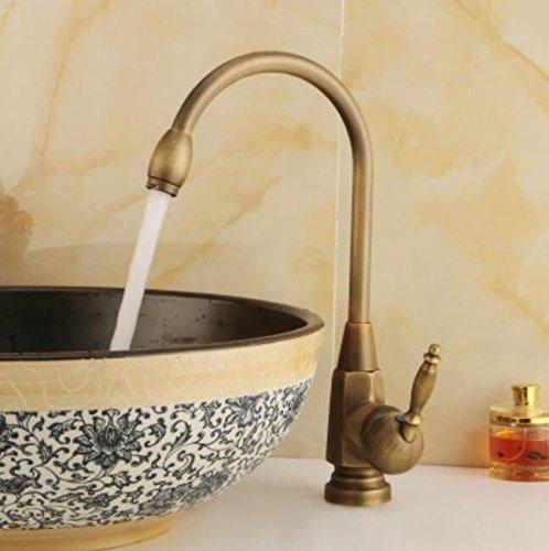 B Decorry All Copper Antique Faucet Basin, European Style Ancient Kitchen Faucet, Kitchen Pots, Faucet, 360 Degree redating Ceramic Disc Spool Drawing,A