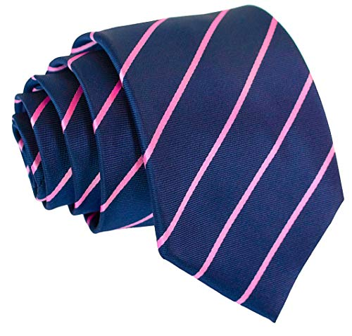 Scott Allan Collection Pencil Stripe Ties for Men - Woven Necktie - Navy Blue w/Pink (Pink Brown Striped Tie)