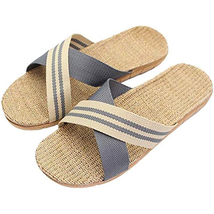 Hwayslon Fashion Unisex Linen Summer Beach Shoes Skidproof Indoor Slippers
