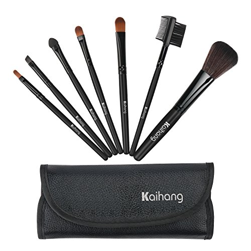 Kaihang Makeup Brushes Premium Makeup Brush Set Synthetic Kabuki Cosmetics Foundation Blending Blush Eyeliner Face Powder Brush Makeup Brush Kit (7pcs, Black)