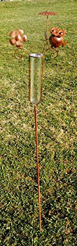 Regenmesser Eule mit Schirm, Gartenstecker, Metall in braun, GD146 Unbekannt
