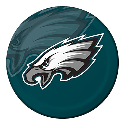 Creative Converting Officially Licensed NFL Dinner Paper Plates, 96-Count, Philadelphia Eagles - 429524 -