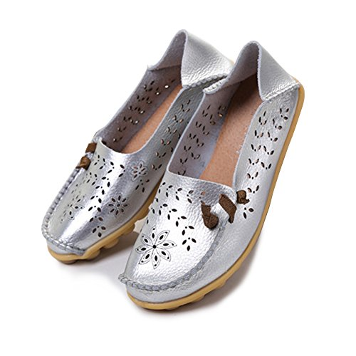 Loafers Slippers Casual Summer Silver Hollow Flat Shoes Womens Blivener 5p7Ex