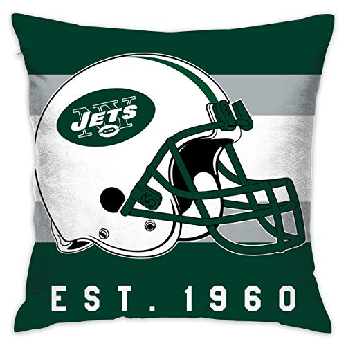 Gdcover Custom Stripe York Jets Pillow Covers Standard Size Throw Pillow Cases Decorative Cotton Pillowcase Protecter with Zipper - 18x18 Inches