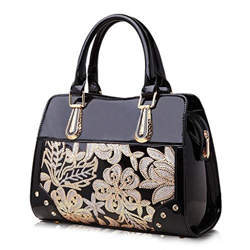 Zdd Perkin color High Women's Handbag Sequins grade 10cm Leather Black 24 Shoulder Bag Fashion Patent 32 TSqgawT