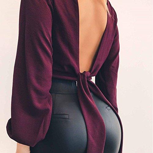 Shirts Crop Longues Unie Haut V Chemises Couleur Manches Mousseline Sexy Top Profond Dos Blouse Femmes Bandage Col Nu wTqZ6Ew