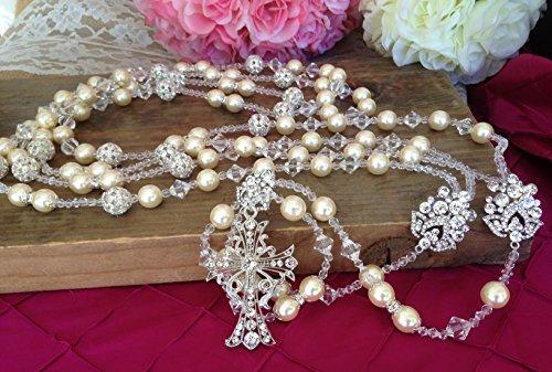 (Ivory Pearls Crystal wedding Lasso Silver Plated with Rhinestones/Swarovski Victorian Ivory Crystal pearls/Lazo de Boda en Perlas Beige/wedding/Crystal wedding lasso)