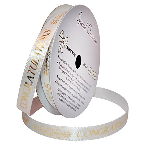Morex Ribbon Special Occasions Ribbon: Congratulations, Polyester, 3/8-Inch by 10-Yard, White/Metallic Gold Print, Item ()