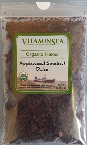 Organic Applewood Smoked Dulse Seaweed - 4 oz bag Flakes - USDA Certified and Kosher Hand Harvested from the Atlantic Ocean Maine Coast Vegan Raw and Wild Sea Vegetables VitaminSea (Flakes, 4 oz)