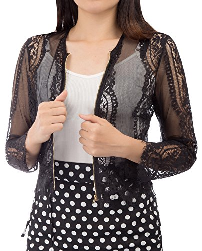 Kate Kasin Casual Lace Vest Blouse Sexy Zipper T-Shirt Top Tassels (2XL,Black)