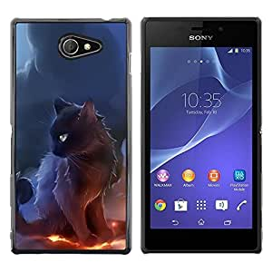 Be Good Phone Accessory // Dura Cáscara cubierta Protectora Caso Carcasa Funda de Protección para Sony Xperia M2 // Sorceress Witch Cat Smoke Art Black Fire