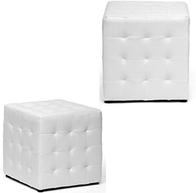 EFD White Ottoman Set Wooden Frame Faux Leather Upholstery Tufted Foam Padded Buttoned Lightweight Cube 2 Piece Ottoman Set for Dorm Living Room Bedroom Library Sunroom eBook by Easy&FunDeals
