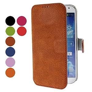 conseguir Estera del cuero del estilo de la PU con el soporte y la ranura para tarjeta para Samsung Galaxy S4 i9500 (colores surtidos) , Negro