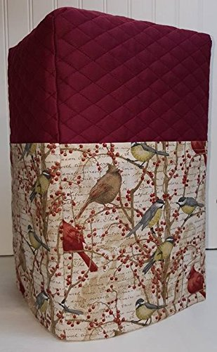 Birds & Berries Coffee Maker Cover (Burgundy)