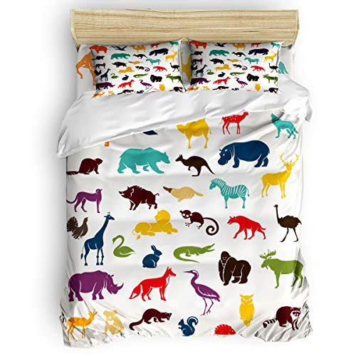 Fantasy Star Wild Animal Silhouette Comforter Bedding Set, 4 Piece Home Decoration Duvet Cover Set Include 1 Flat Sheet 1 Duvet Cover and 2 Pillow Cases, Queen Size