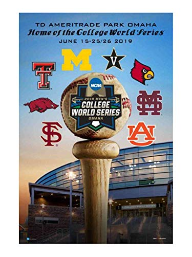 Pro Graphs 2019 NCAA Men's College World Series CWS 8 Team Ameritrade Park Omaha Poster