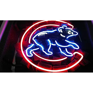 Desung New 17 x13  Chicago Sports Team Cub Logo2 Neon Sign (Multiple Sizes Available) Man Cave Sports Bar Pub Beer Glass Neon Light Lamp CX48