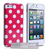 iPhone 5 / 5s Silicone Gel Polka Dot Case Hot Pink
