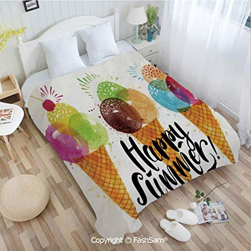 PUTIEN Flannel Fleece Blanket with 3D Cute Print of Ice Cream Cones and Fruit Milk Dessert for Kids Sequal Artwork Perfect for Couch Sofa or Bed(39Wx49L)