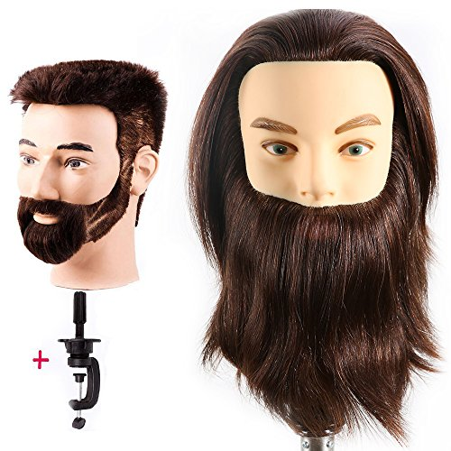 Price comparison product image HAIREALM Male Mannequin Head 100% Human Hair Hairdresser Training Head Manikin Cosmetology Doll Head (Table Clamp Stand Included) HF0408S
