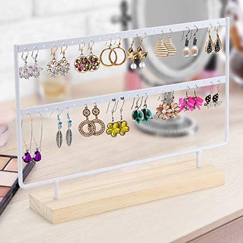 Fnova Earring Stand 2-Tier Jewelry Holder Organizer 46 Holes Display Rack Jewelry con Bandeja de Madera//Plato para Pendientes Collar Pulsera Anillos