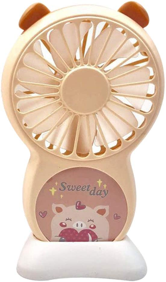 HLSH Cartoon Pig Mini USB Fan Portable Handheld with LED Light Mute for Office Outdoor Student Gifts